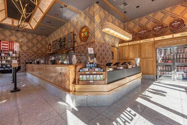Interior shot of Salt & Straw, Downtown Disney District at Disneyland Resort