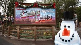 Cars Land at Disney California Adventure park decorated for the holiday season
