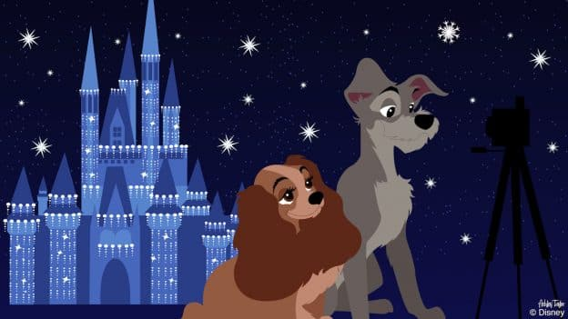 Disney Doodle: Lady & Tramp Take in the Cheer at Magic Kingdom Park