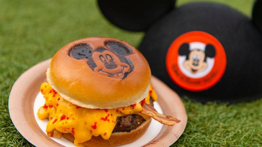 Burger with Mickey bun at Magic Kingdom Park