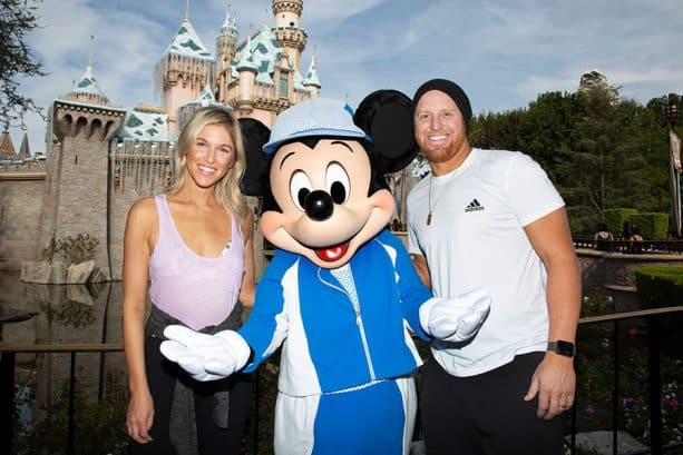 Justin Turner, wife, Mickey at Disneyland Resort