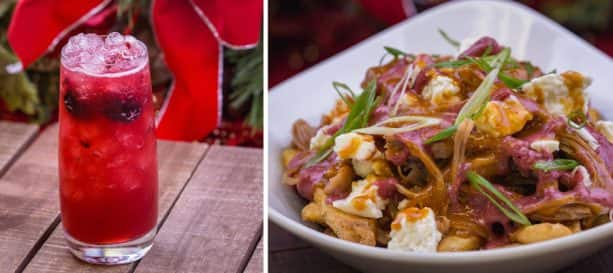 Specialty Holiday Cocktail and Turkey Carnitas Poutine from Lamplight Lounge at Disney California Adventure Park for 2018 Holidays at Disneyland Resort