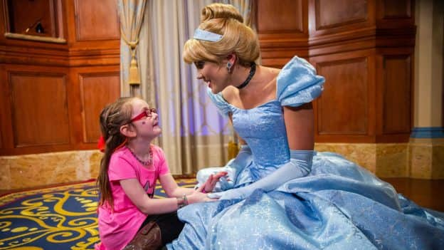 6-year-old Layla Lester meets Cinderella at Magic Kingdom Park