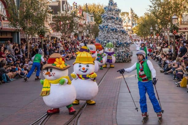 "Snowmen and skiers in ""A Christmas Fantasy"" parade at Disneyland park"