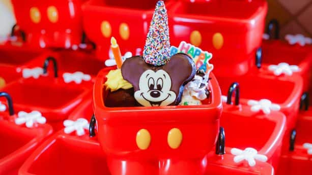 Mickey Mouse Birthday Cake Ice Cream Sundae for Mickey's 90th Birthday at Disneyland Resort