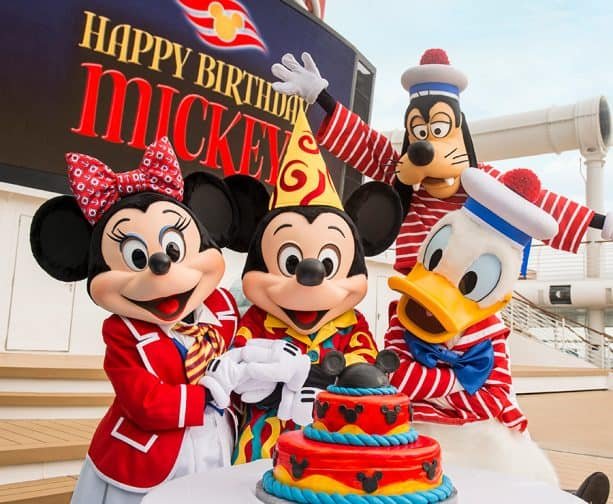 Mickey and friends aboard a Disney cruise