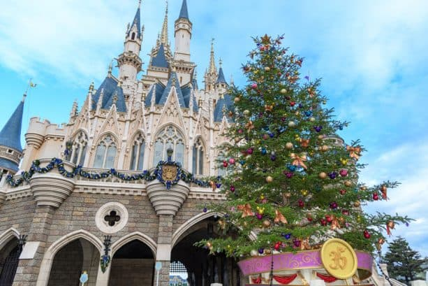 Christmas tree on the Fantasyland side of Cinderella Castle at Tokyo Disneyland