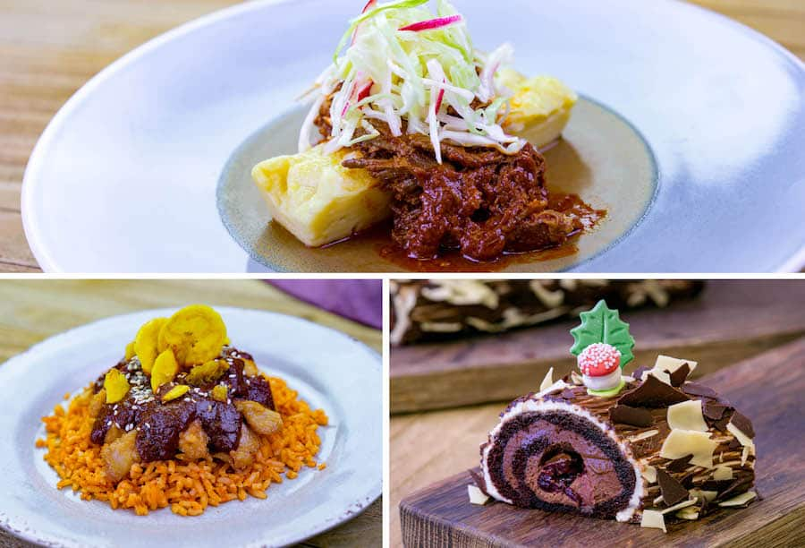 Pozole Rojo Beef, Chicken-less Mole, and Black Forest Yule Log from A Twist on Tradition Marketplace at Disney Festival of Holidays at Disney California Adventure Park