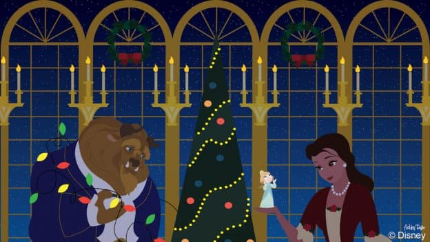 Disney Doodle: Belle & Beast Decorate the Castle for The Holidays