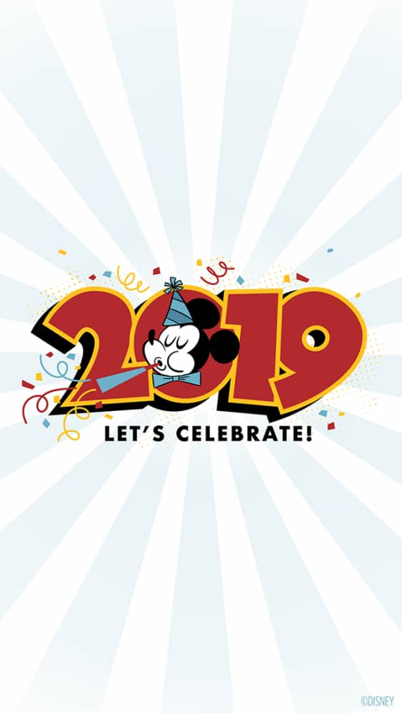 2019 Happy New Year Mickey Mouse Wallpaper – iPhone/Android/Watch