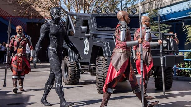 Black Panther and his Royal Guards, the Dora Milaje in Disney California Adventure park