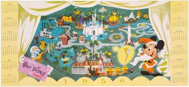 1955 card featuring a calendar for the following year commemorating the opening of Disneyland Park