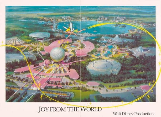 1982 card featuring Disney Imagineer Clem Hall's lavish and detailed conceptual aerial view of EPCOT