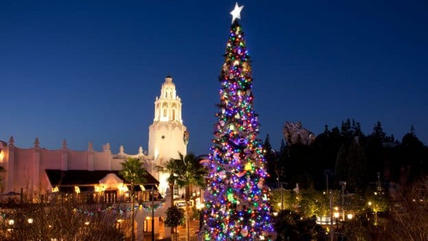 Disney California Adventure park decorated for the holiday season
