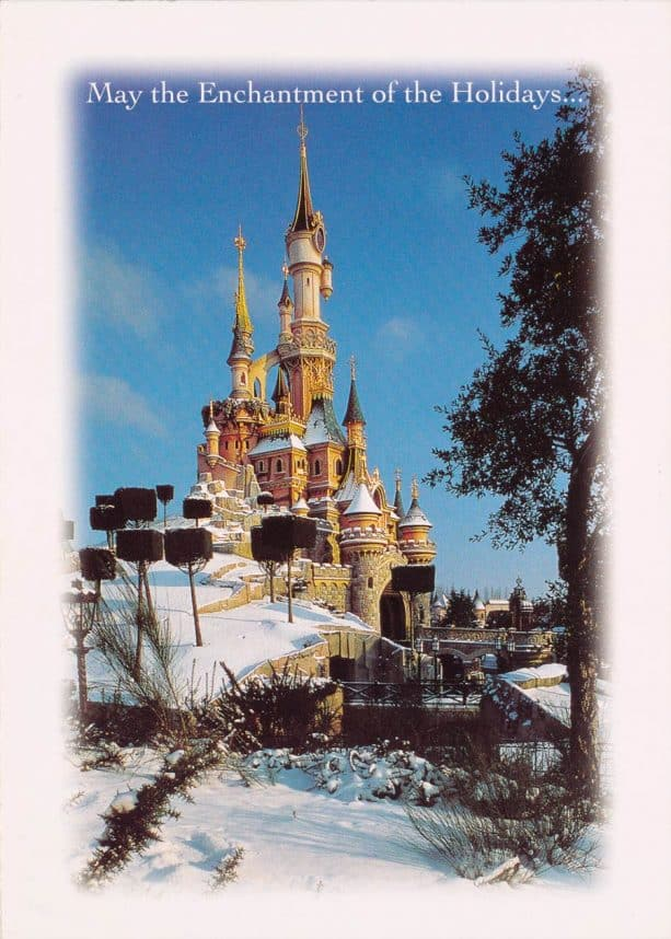 1997 card featuring snow at Disneyland Paris