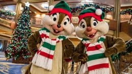 Chip and Dale celebrate the holidays aboard Disney Cruise Line