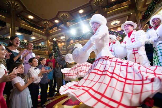 Holiday dancers onboard Disney Cruise Line