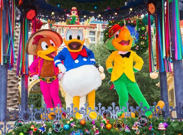 The Three Caballeros in the Disney ¡Viva Navidad! Street Party at Disney California Adventure park