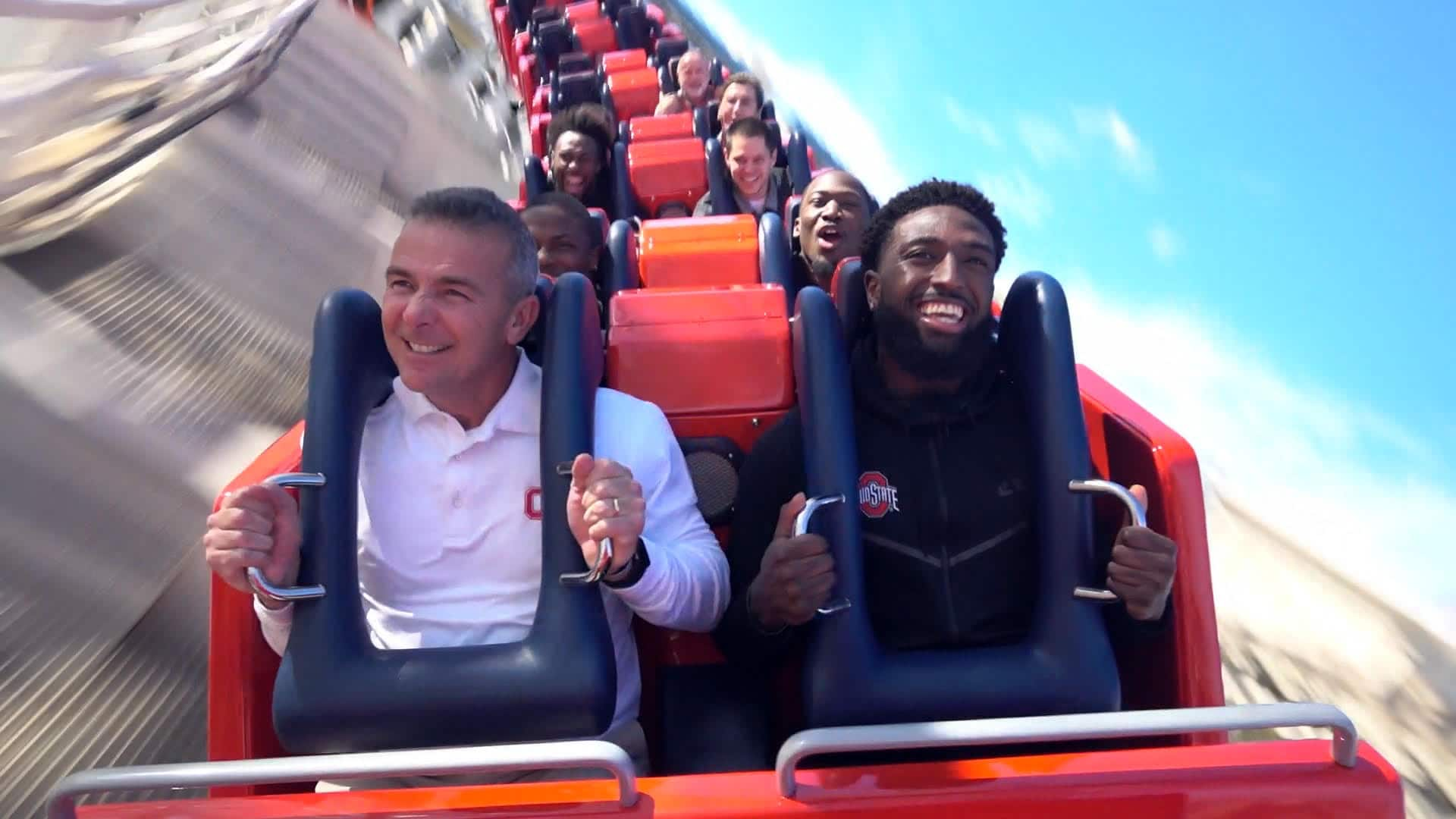 Washington Huskies ride the Incredicoaster at Disney California Adventure park