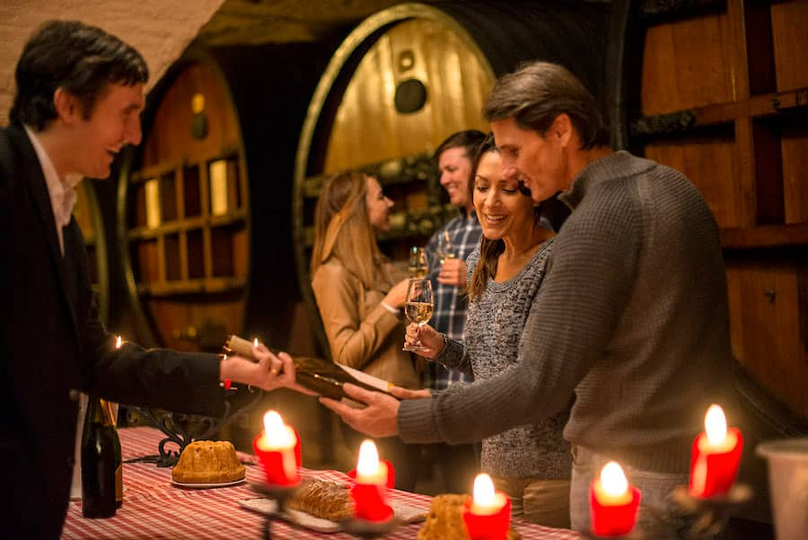Couple wine tasting with Adventures by Disney