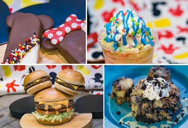 "Specialty Items for Get Your Ears On at Disney California Adventure Park - Hand-dipped Mickey or Minnie Ice Cream Bar, Confetti Cake Shake, ""Share Your Ears"" Cheeseburger and Cookies 'n Cream Bread Pudding"