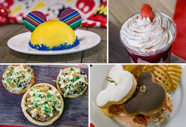 Specialty Items for Get Your Ears On at Disneyland Park - Mickey Hat Dessert, Frozen Strawberry Horchata, Sopes Trio and Fried Chicken and Beignets