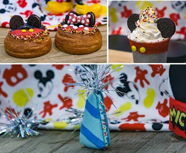 "Specialty Items for Get Your Ears On at Disney California Adventure Park - Mickey Donut with apple filling, Minnie Donut with cherry filling, Mickey Cookies 'n Cream Shake with ""90"" sprinkles and Birthday Hat Macaron"