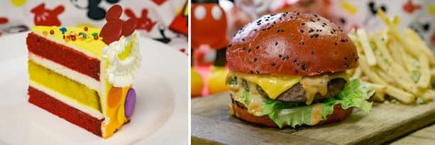 Specialty Items for Get Your Ears On at Disneyland Park - Celebration Cake and Mickey-inspired Cheeseburger