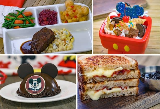 Specialty Items for Get Your Ears On at Disneyland Park - TV Dinner Pot Roast, Birthday Sundae, Mickey Mouse Club Hat Dessert and Specialty Toasted Cheese Sandwich