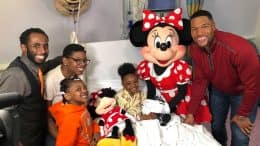 Minnie Mouse and Michael Strahan at Mount Sinai Children's Hospital visiting 8-year-old Lexi and her family