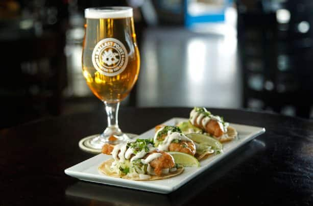 Fried Fish Street Tacos with Pescadero Pilsner at Ballast Point