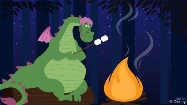 Disney Doodle: Elliott from 'Pete's Dragon' roasting marshmallows at Disney's Fort Wilderness Resort & Campground