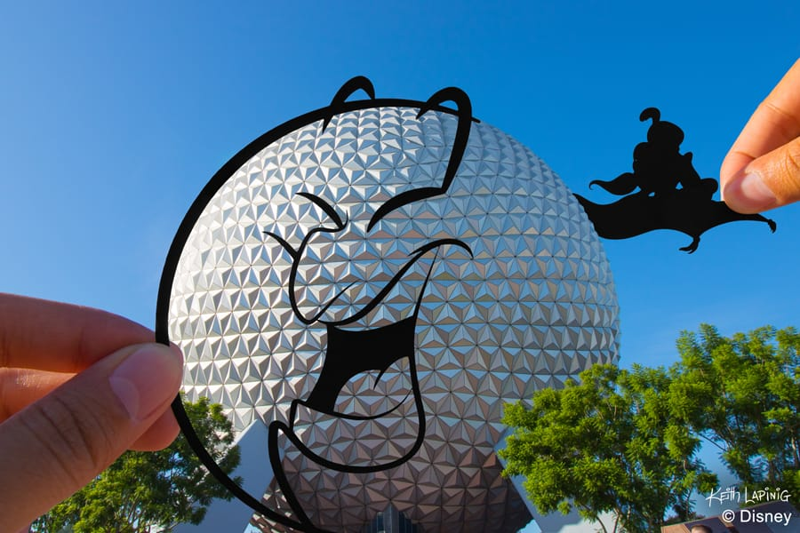 Disney Parks in Silhouette: Genie transforms into Spaceship Earth design by artist Keith Lapinig