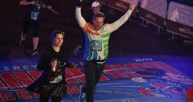 Carlos Ponce crosses the finish line at the 2019 Walt Disney World Marathon Weekend presented by Cigna
