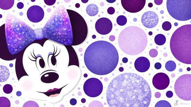 Download our Minnie Mouse Purple Polka Dots Wallpaper for National Polka Dot Day