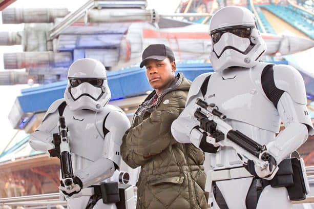 Actor John Boyega with Stormtroopers at Disneyland Paris