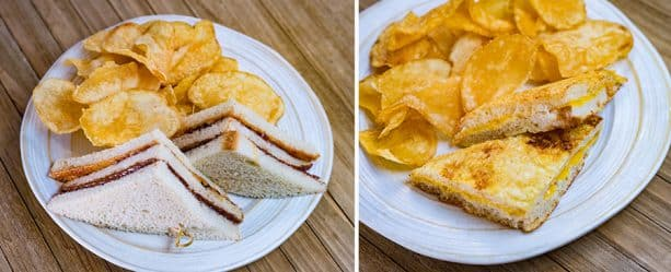 PBJ & N Sandwich with peanut butter, jelly, and chocolate-hazelnut spread and house-made chips.