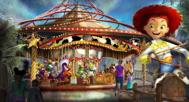 Jessie's Critter Carousel at Pixar Pier, Disney California Adventure park