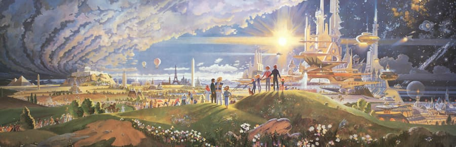 """The mural """"The Prologue and the Promise,"""" once displayed at the Horizons pavilion at Epcot. © Disney"""