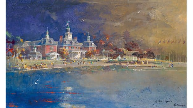 A Herb Ryman painting of the building that houses one of his original paintings. © Disney