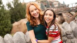 "Disney Channel Original Movie: ""Kim Possible"" stars Sadie Stanley and Ciara Riley Wilson at Seven Dwarfs Mine Train in Magic Kingdom Park"