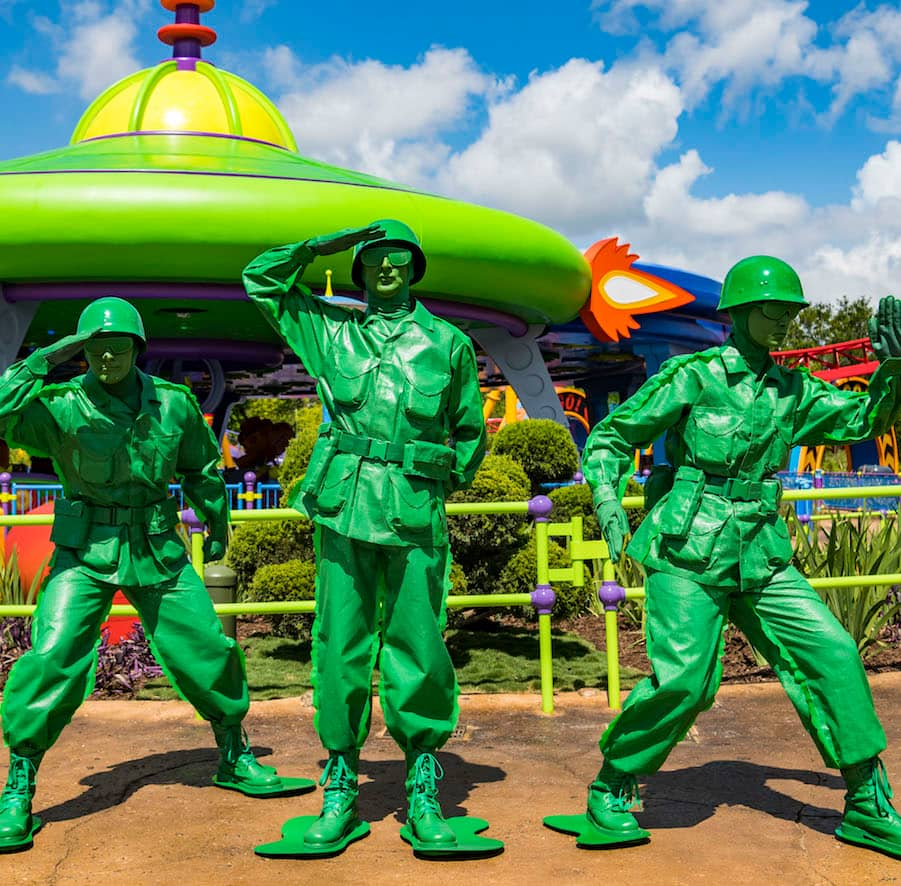 The Green Army Patrol at Toy Story Land