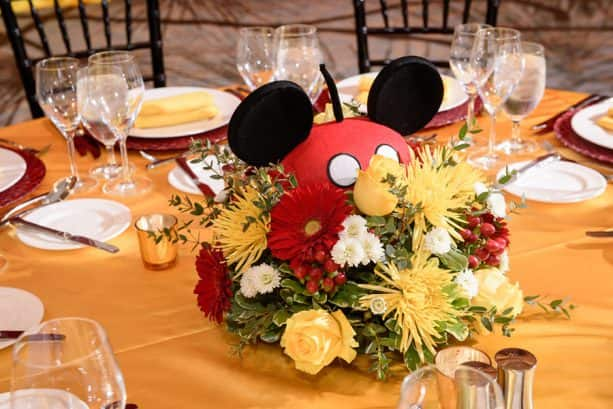 Mickey Mouse-themed table and centerpiece