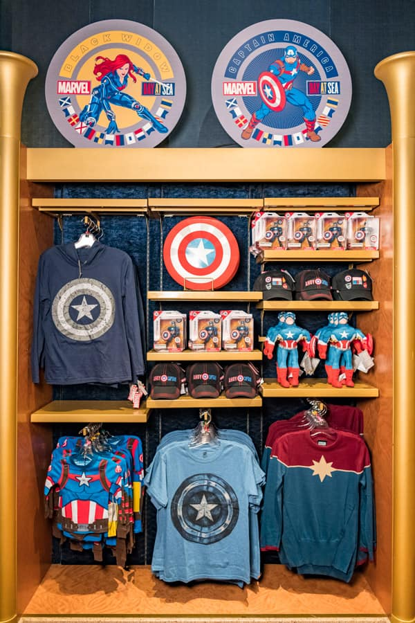 Captain America merchandise available during Marvel Day at Sea