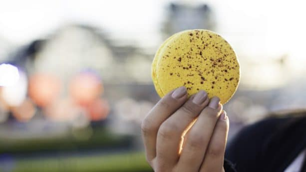 Blue Meyer Lemon Blue Diamond Almond Macaron from Citrus Grove at the 2019 Disney California Adventure Food & Wine Festival