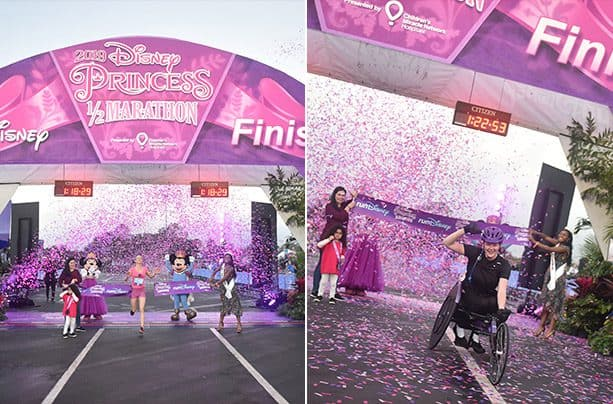 2019 Disney Princess Half Marathon finish line photos: Jackie Pirtle-Hall and Bethany Evans crossing the finish line