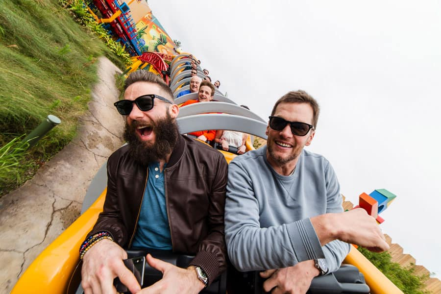 New England Patriots wide receiver Julian Edelman (left) and quarterback Tom Brady (right) celebrated their Super Bowl LIII victory Monday, Feb. 4, 2019, at Walt Disney World Resort in Lake Buena Vista, Fla. During their visit, the pair took a ride on the new Slinky Dog Dash in Toy Story Land at Disney's Hollywood Studios.
