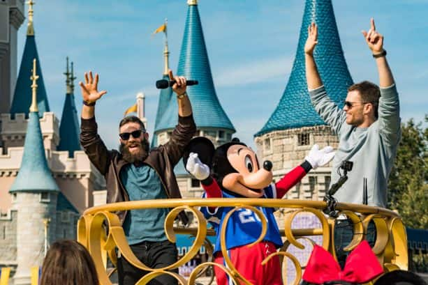 New England Patriots wide receiver Julian Edelman (left) and quarterback Tom Brady (right) celebrated their Super Bowl LIII victory Monday, Feb. 4, 2019, at Walt Disney World Resort. The pair participated in a parade with Mickey Mouse, waving to cheering fans as they traveled down Main Street, U.S.A. at Magic Kingdom Park.