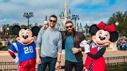 New England Patriots quarterback Tom Brady (center-left) and wide receiver Julian Edelman (center-right) celebrated their Super Bowl LIII victory Monday, Feb. 4, 2019, at Walt Disney World Resort in Lake Buena Vista, Fla. The star duo met another super pair – Mickey Mouse and Minnie Mouse – in front of Cinderella Castle at Magic Kingdom Park surrounded by cheering fans.