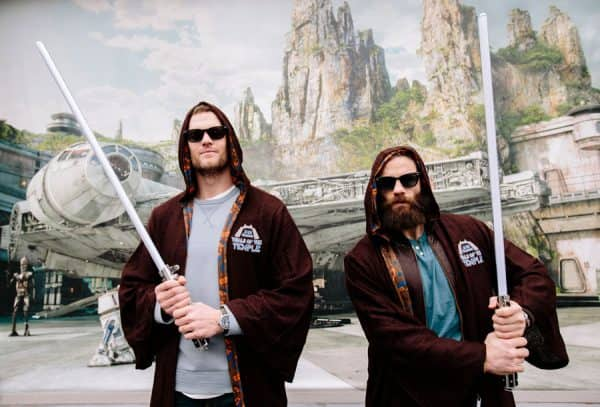 New England Patriots quarterback Tom Brady (left) and wide receiver Julian Edelman (right) celebrated their Super Bowl LIII victory Monday, Feb. 4, 2019, at Walt Disney World Resort in Lake Buena Vista, Fla. As part of their visit, the pair channeled the Force with Jedi robes and lightsabers at Disney's Hollywood Studios, where the new Star Wars: Galaxy's Edge will open this fall.